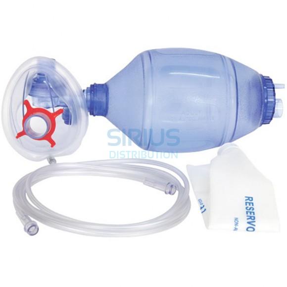 Balon resuscitare PVC adulti, tub oxigen 200cm, masca oxigen nr.5, capacitate rezervor 1650ml, unica folosinta (1 set)
