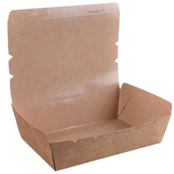 Caserola + capac pentru pranz, din carton kraft cerat, dimensiuni 20x11x5 cm (50 buc)