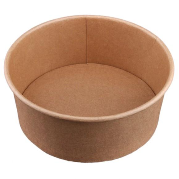 Caserola rotunda fara capac din carton kraft cerat, volum 1300 ml, diametru 18 cm x inaltime 6.8 cm (50 buc)