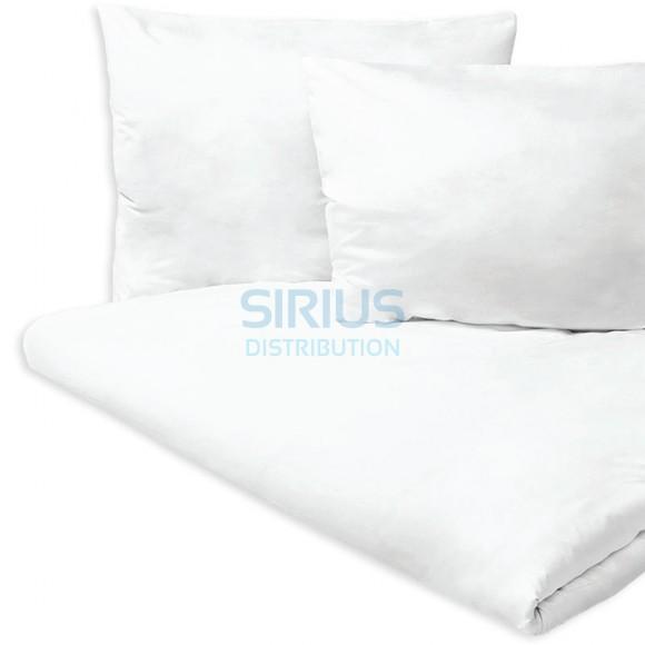 Cearceaf pat, damasc alb, 100% bumbac, 240 x 260 cm, pentru pat matrimonial (1 buc)