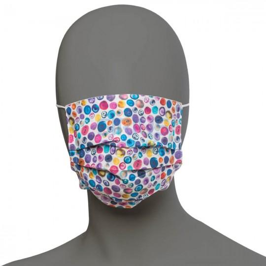 Masca faciala pentru copii, din bumbac, 3 pliuri, 2 straturi, cu elastic, uni / imprimeu (10 bucati)