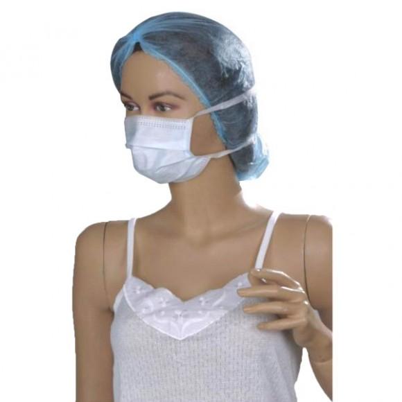 Masca chirurgicala 3 pliuri, 3 straturi, cu elastic, verde/albastru (50 buc)