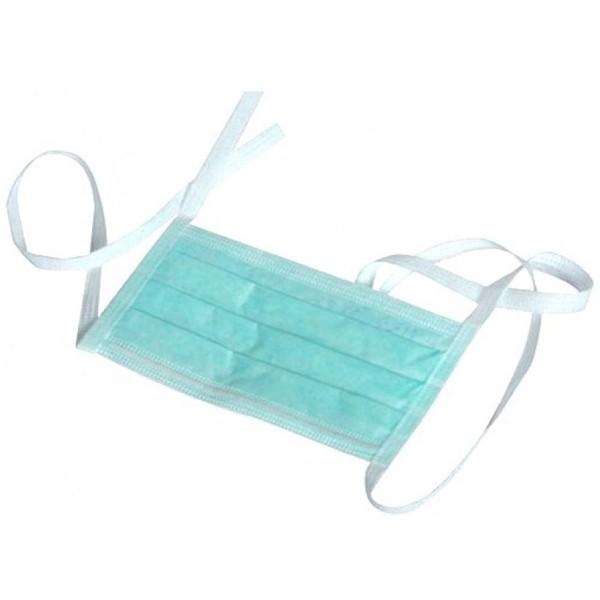 Masti chirurgicale 3 pliuri 3 straturi cu legaturi, culoare verde (50 bucati)