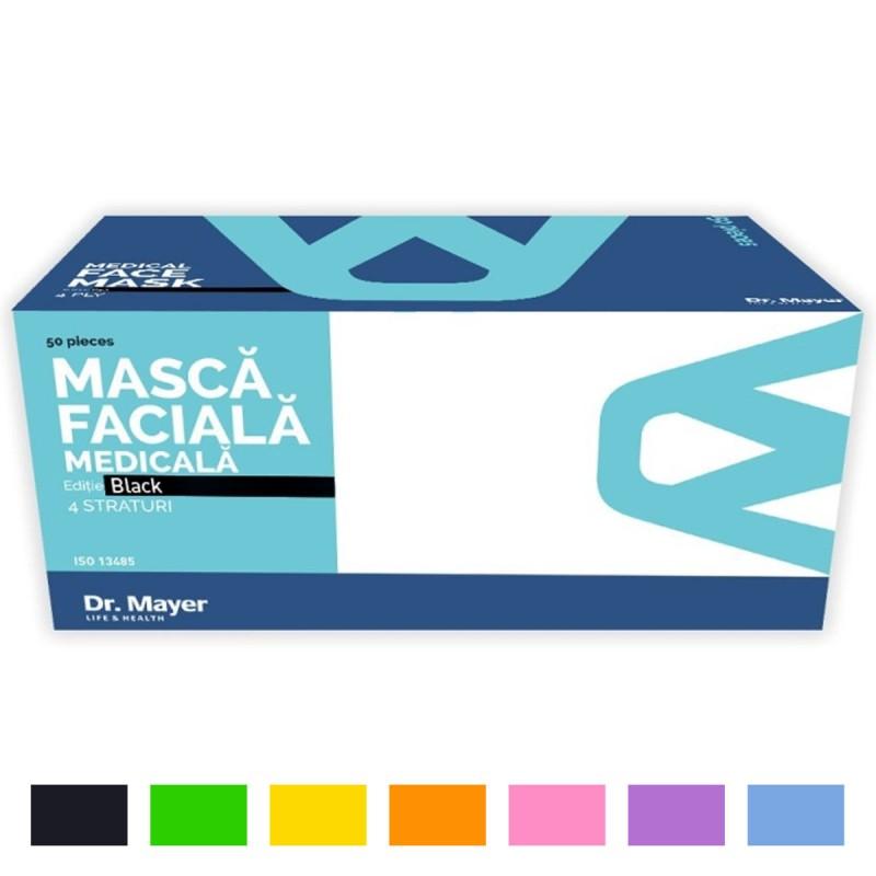 Masti medicale 3 pliuri, 4 straturi, cu elastic, culoare neagra / verde / galbena / orange / roz / mov / albastra / rosie integral (50 bucati)