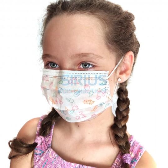 Masca protectie copii, de unica folosinta, 3 pliuri si 3 straturi cu elastic (30 bucati)