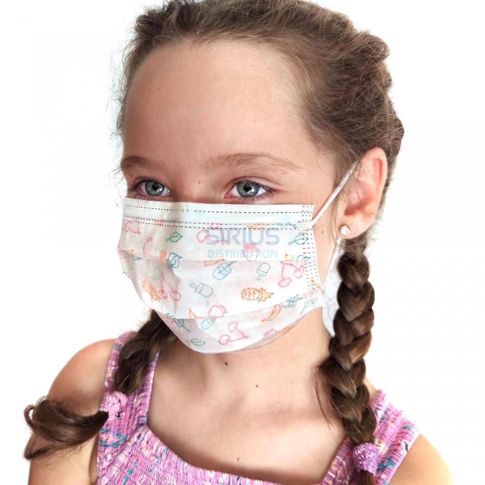 Masca de protectie pentru copii, unica folosinta, 3 pliuri, 3 straturi cu elastic (30 bucati) | Sirius Distribution