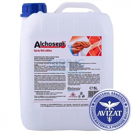 Dezinfectant pentru maini si tegumente, gata de utilizare, Alchosept, avizat biocide (5 litri)