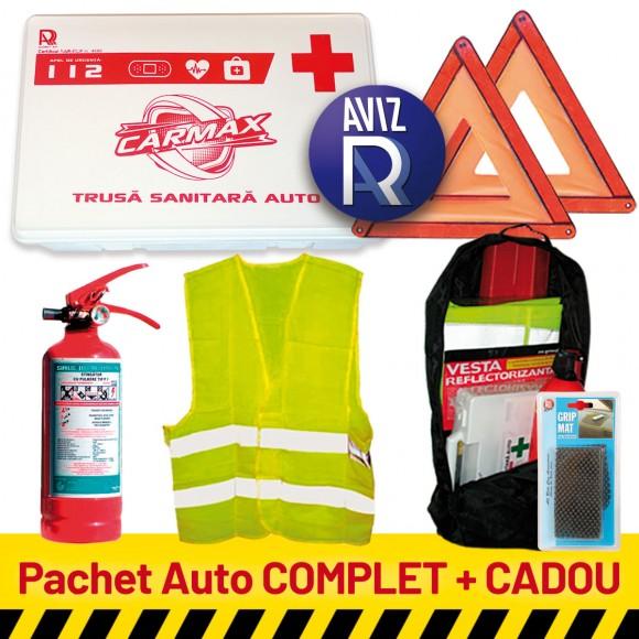 Pachet Auto COMPLET: Trusa sanitara auto avizata RAR (valabila 5 ani) + Stingator P1 (valabil 5 ani) + 2 Triunghiuri presemnalizare + Vesta + CADOU