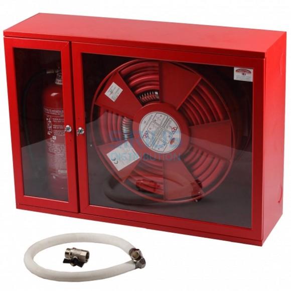 Hidrant interior, usa cu sticla, locas stingator lateral + Accesorii - furtun D-33 alb (700x950x340mm)