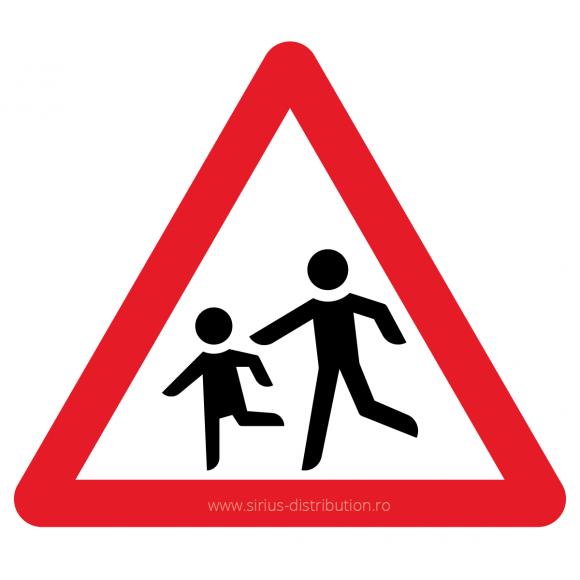 Indicator rutier avertizare [ Copii ], forma triunghiulara, reflectorizant