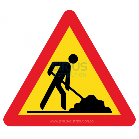 Indicator rutier avertizare [ Lucrari ], forma triunghiulara, reflectorizant