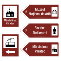 Indicator rutier de informare [ Directie spre obiectiv turistic ],  reflectorizant