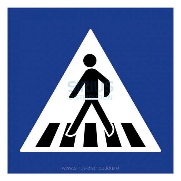 Indicator rutier de informare [ Trecere pentru pietoni ], forma patrata, reflectorizant