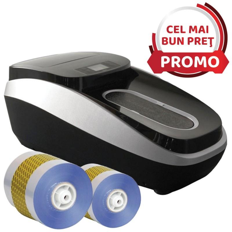 Dispenser automat folii protectie pentru acoperit incaltamintea + 2 role de folie PVC