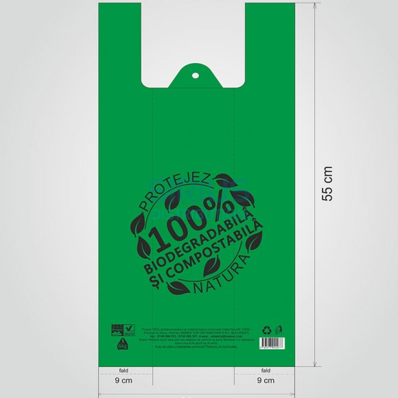 Pungi mari biodegradabile, 30x55cm, 6-7kg (1000 buc.)