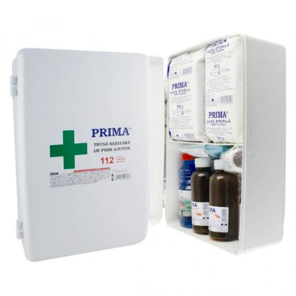 Trusa sanitara prim ajutor fixa, avizata MS, conforma ordinului 427/2002